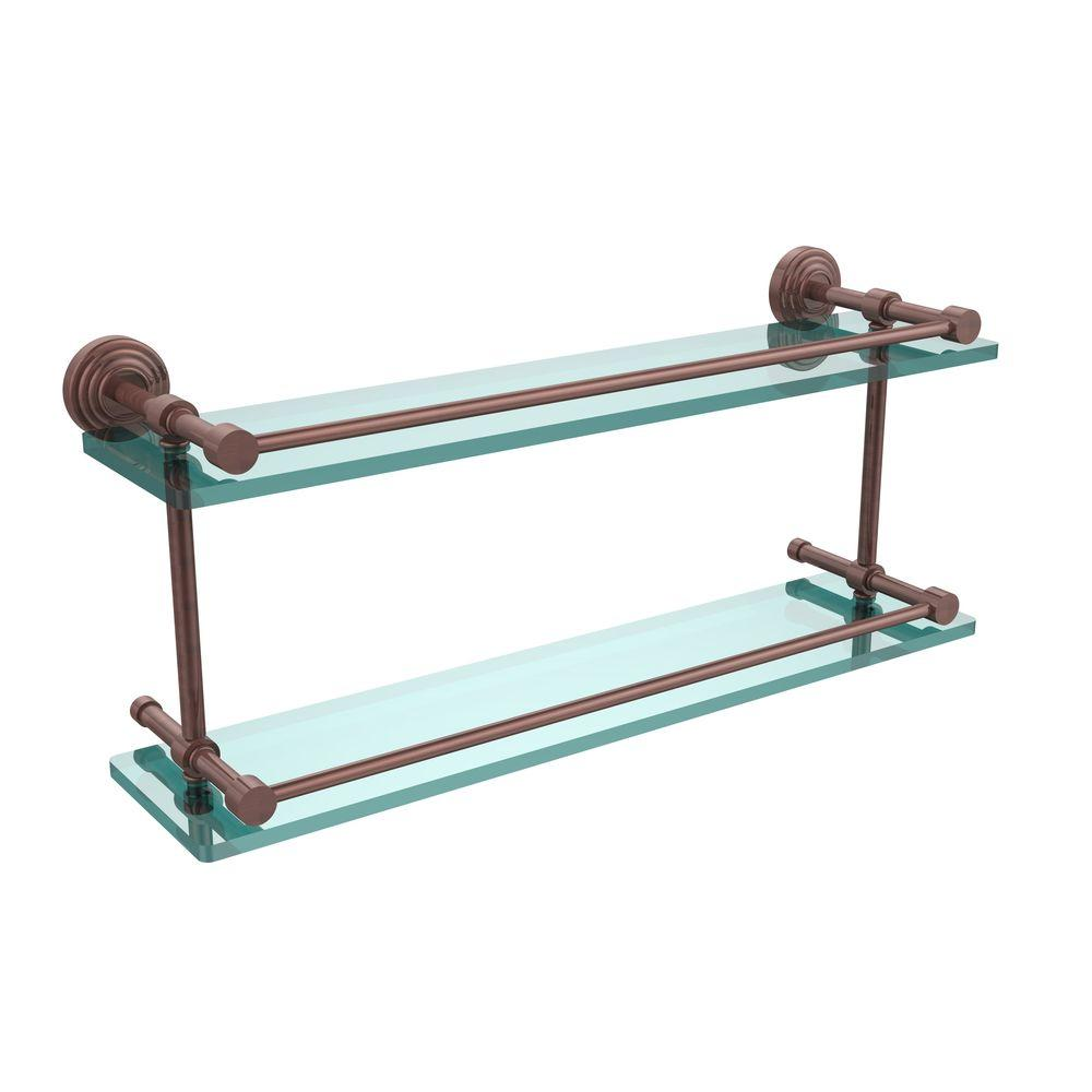 Allied Brass Bathroom Shelving Waverly Place 22 in. W Double Glass Shelf with Gallery Rail in Antique Copper WP-2/22-GAL-CA