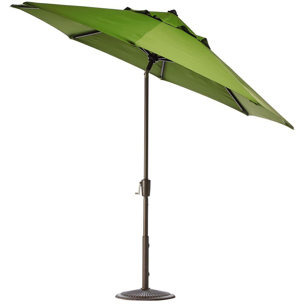 Home Decorators Collection 11 ft. Auto-Tilt Patio Umbrella in Macaw Sunbrella with Bronze Frame