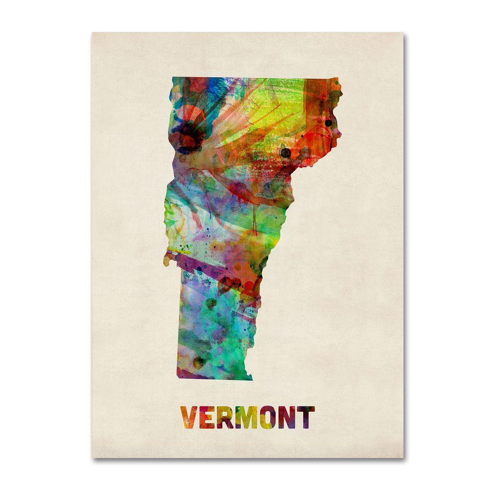 14 in. x 19 in. Vermont Map Canvas Art