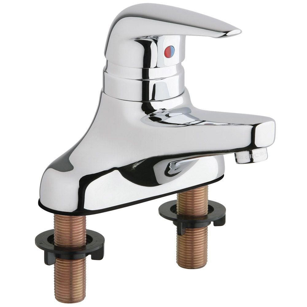 Chicago Faucets 4 in. Centerset 1-Handle Low Arc Bathroom Faucet in Chrome with 4-5/8 in. Rigid Cast Brass Spout