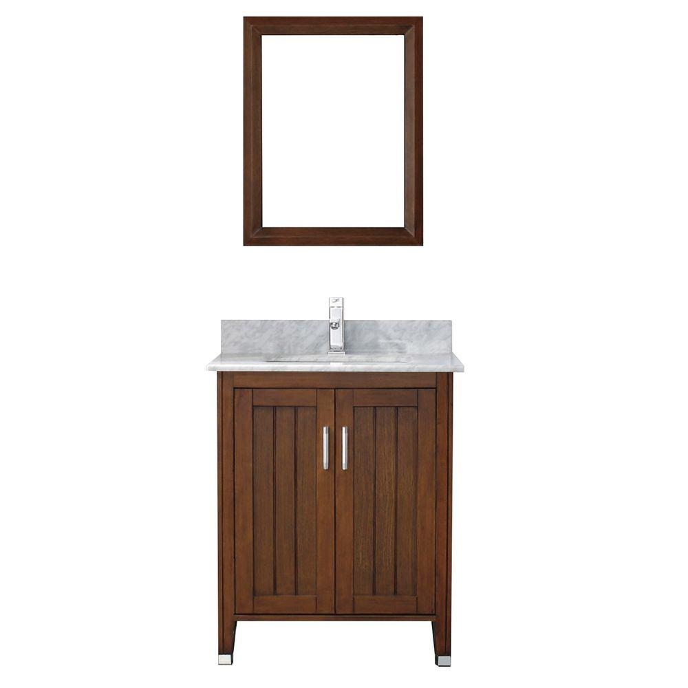 Studio Bathe Jackie 28 in. Vanity in Classic Cherry with Marble Vanity Top in Carrara White and Mirror