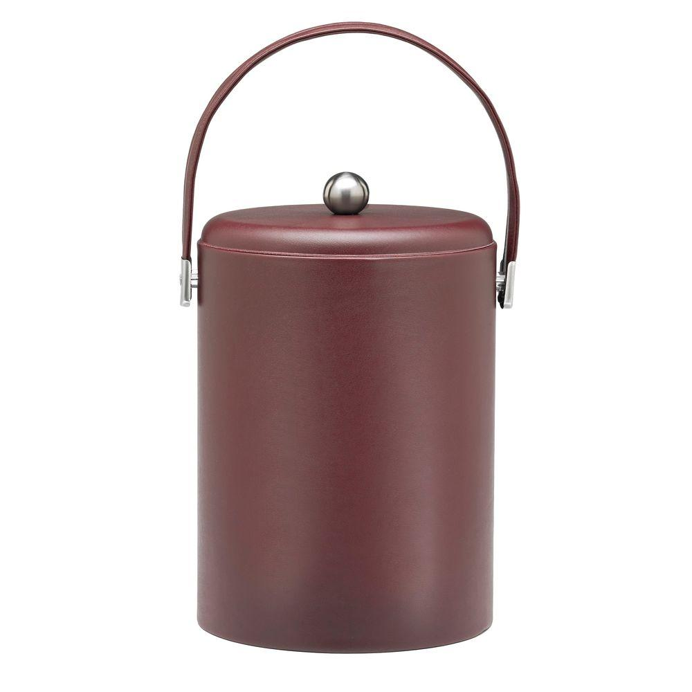 Kraftware SoHo Claret Leatherette 5 Qt. Ice Bucket with Stitched Handles, Leatherette Domed RG Lid and Chrome Side Hardware
