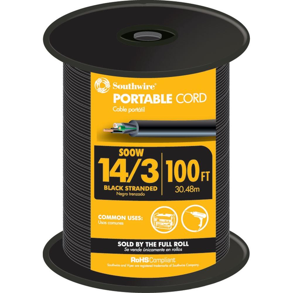 100 ft. 14-3 SOOW Black 600V Rubber Cord