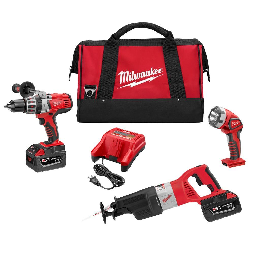Milwaukee M28 28-Volt Lithium-Ion Cordless Combo Kit (3-Tool)-0928-23 - The Home