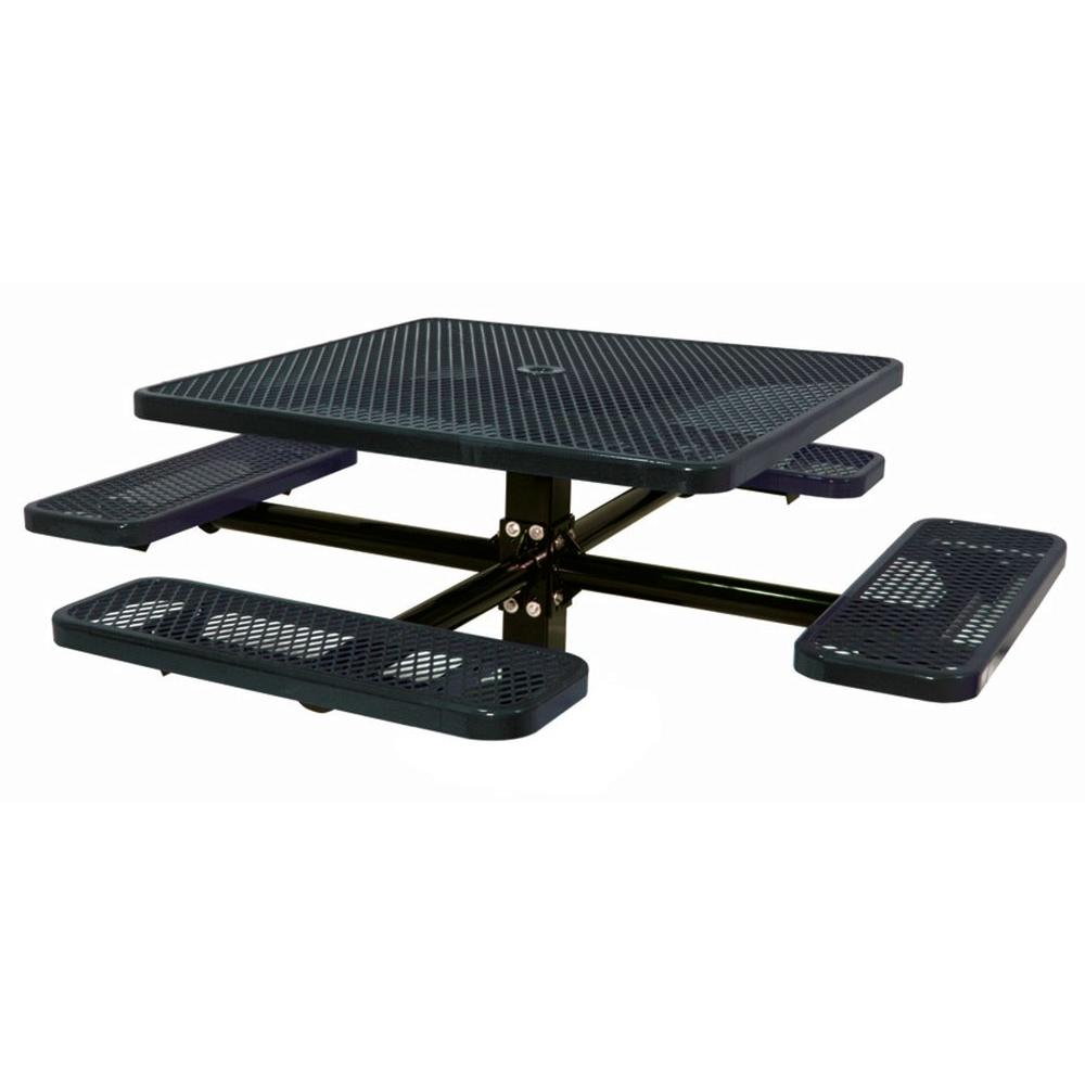 Ultra Play 46 in. Diamond Black Square Commercial Park Single Pedestal Inground Table