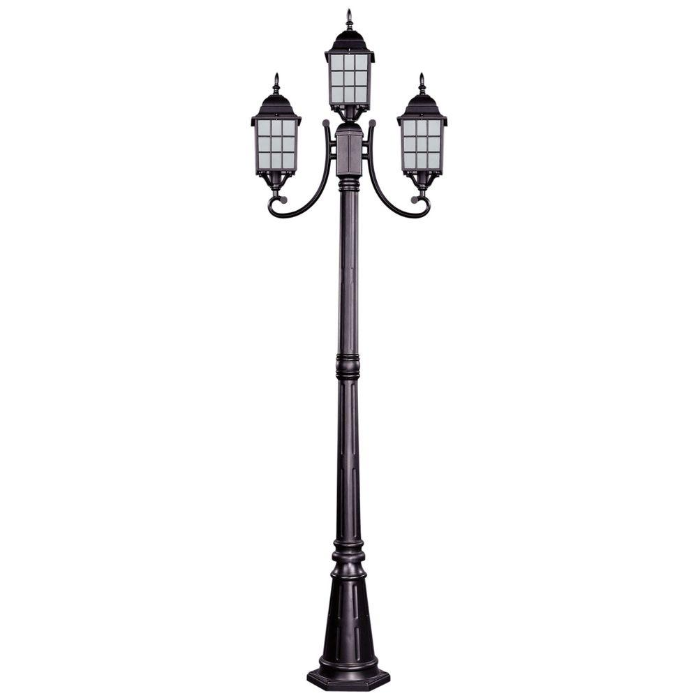 CANARM Colton 3-Light Bronze Outdoor Post Light with Frosted Glass