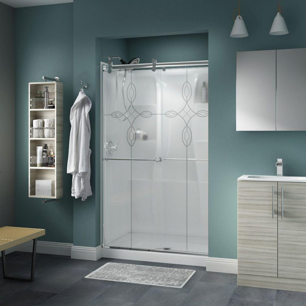 Delta Shower Enclosures Crestfield 48 in. x 71 in. Semi-Framed Contemporary Style Sliding Shower Door in Chrome with Tranquility Glass 2439124