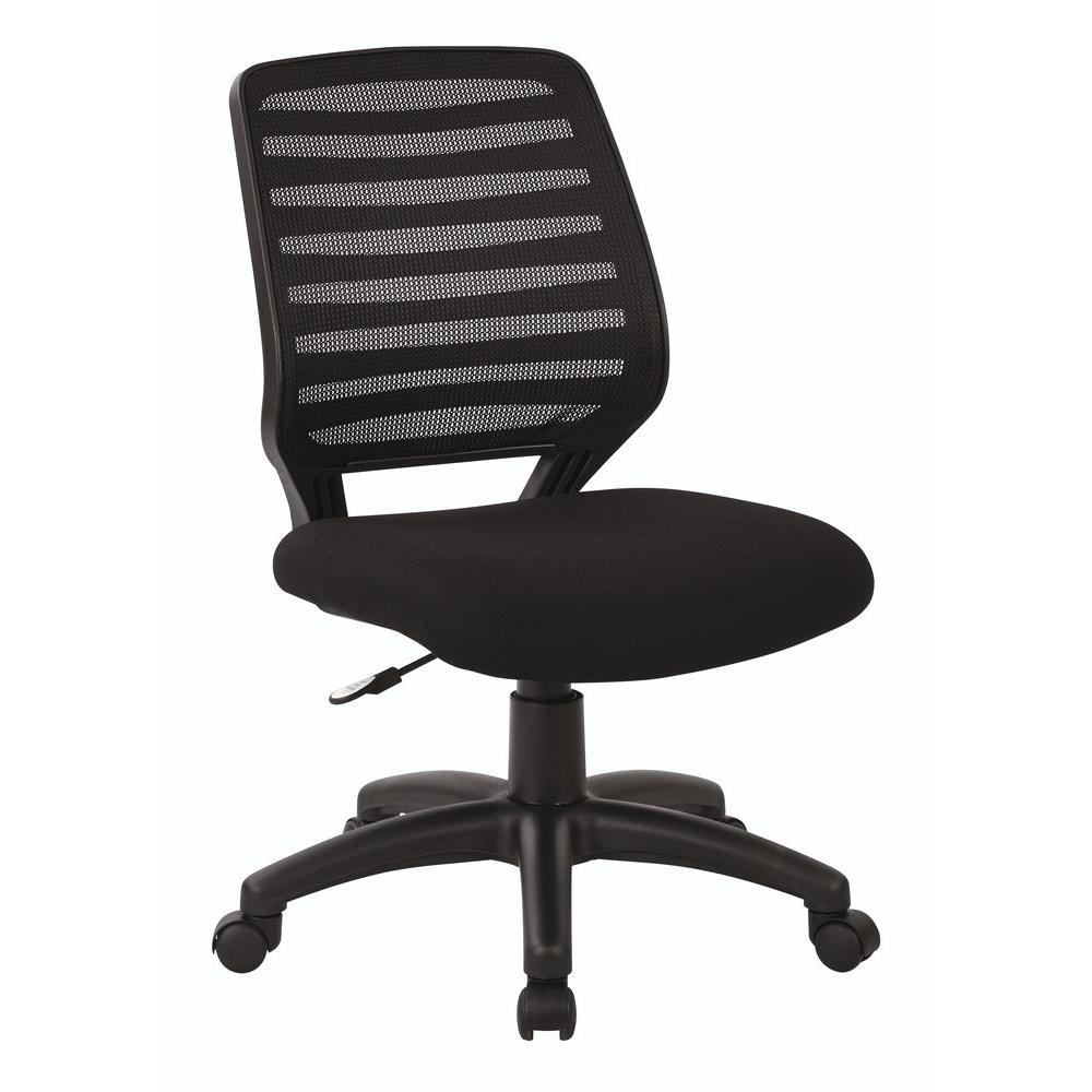 Work Smart Screen Back/Fabric Seat Task Chair in Black-EM22800-F3 - The