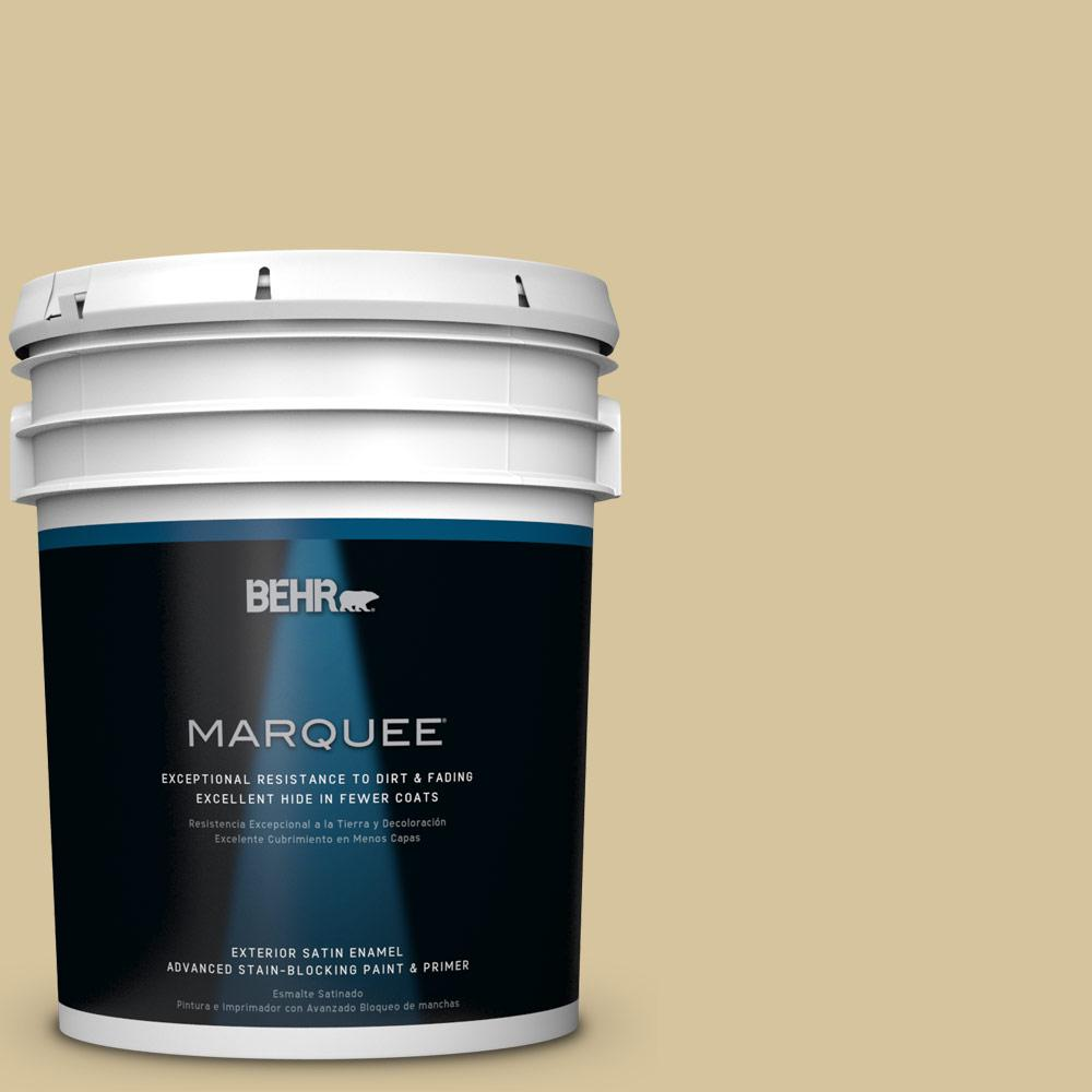 BEHR MARQUEE 5-gal. #HDC-NT-02 White Oak Satin Enamel Exterior Paint-945405 -