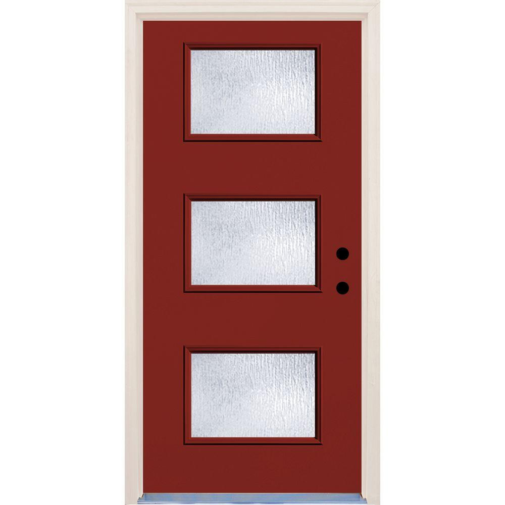Builder's Choice 36 in. x 80 in. Cordovan 3 Lite Rain Glass Painted Fiberglass Prehung Front Door with Brickmould