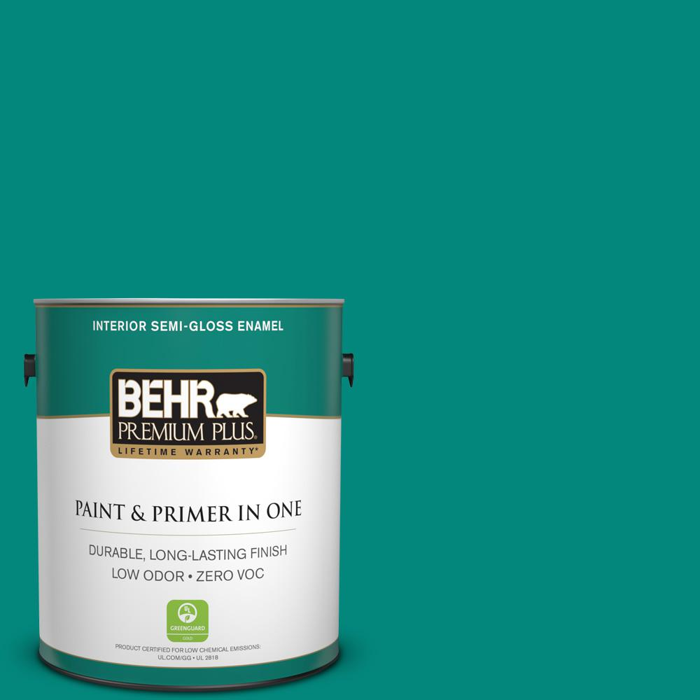1-gal. #P450-7 Mystic Turquoise Semi-Gloss Enamel Interior Paint