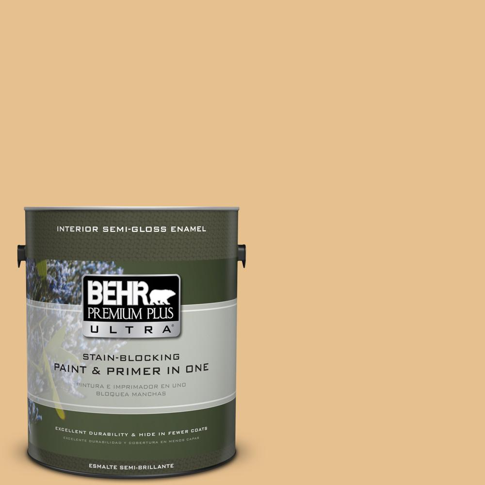 1 gal. #T17-02 Gold Hearted Semi-Gloss Enamel Interior Paint