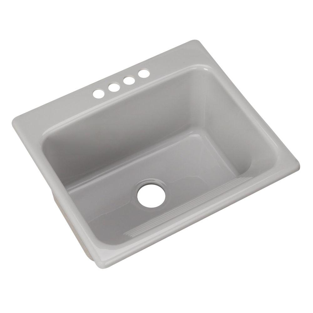 ... Drop-In Acrylic 25 in. 4-Hole Single Bowl Utility Sink in Ice Grey