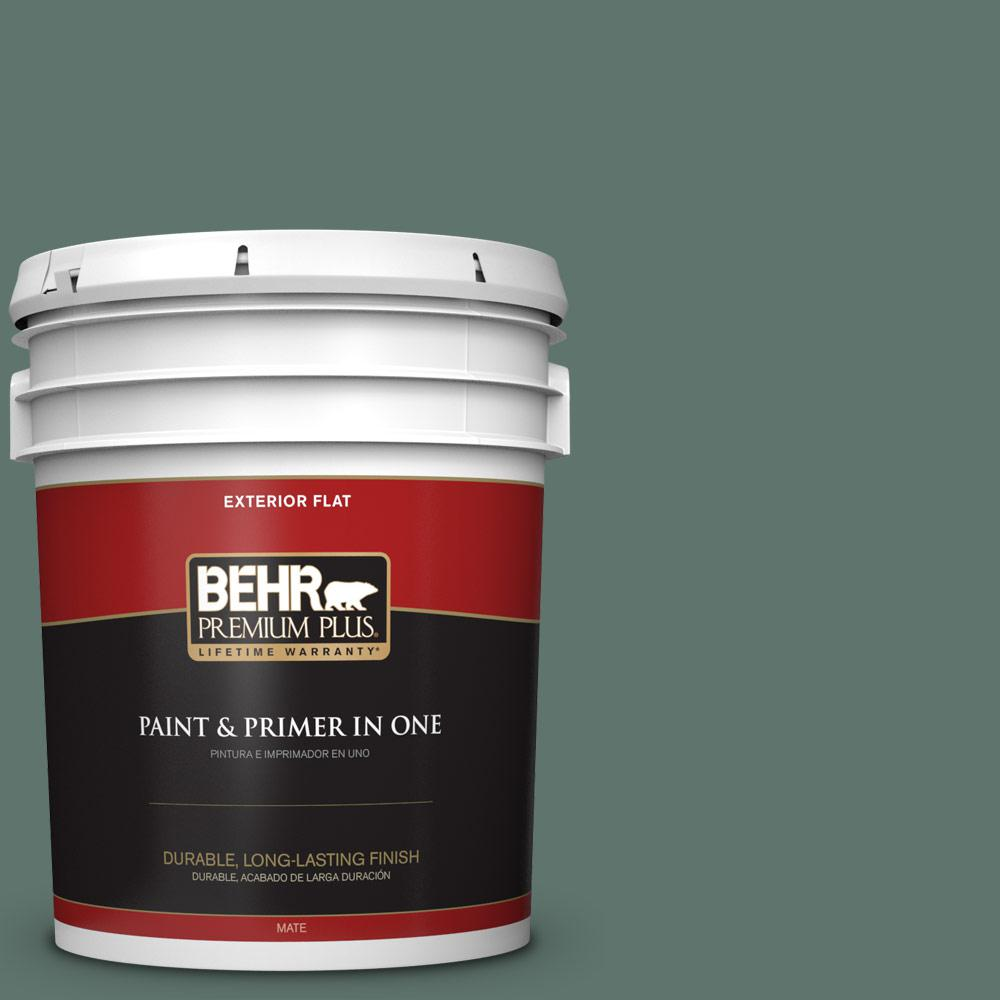 BEHR Premium Plus 5 gal. #PPU12-17 Cameroon Green Flat Exterior Paint-430005