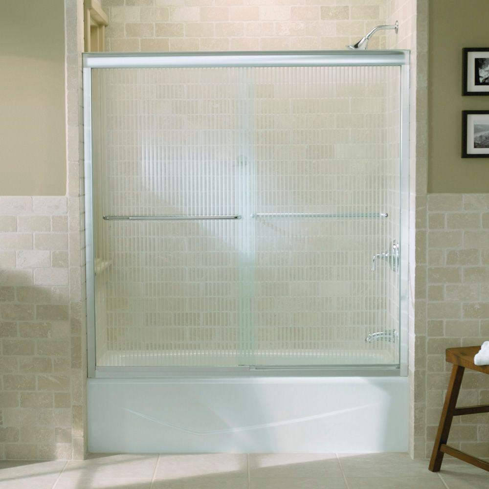 KOHLER Fluence 59-5/8 in. x 58-5/16 in. Semi-Frameless Sliding Shower Door in Bright Polished Silver with Falling Lines Glass