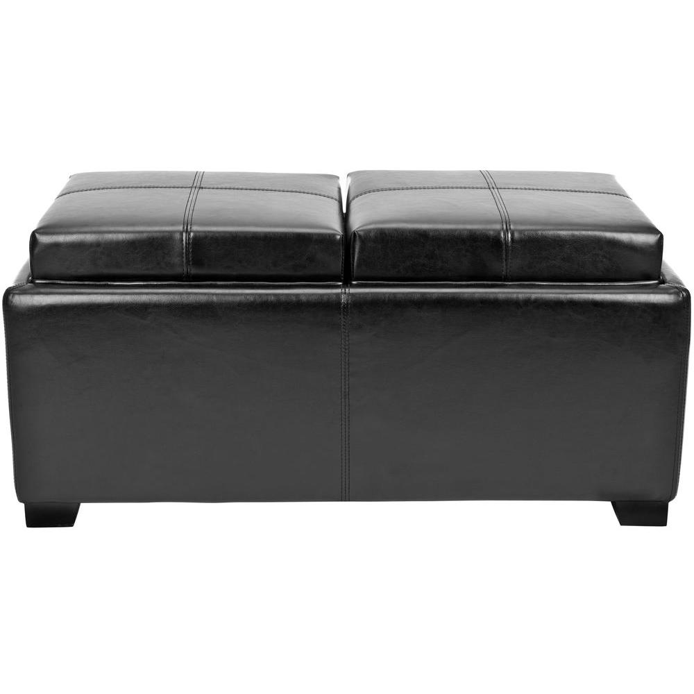 Harrison Double Tray Storage Bench in Black