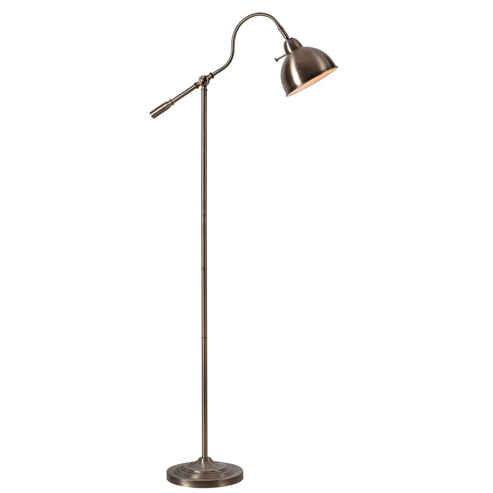 Michael 61 in. Brass Floor Lamp with Brass Metal Shade