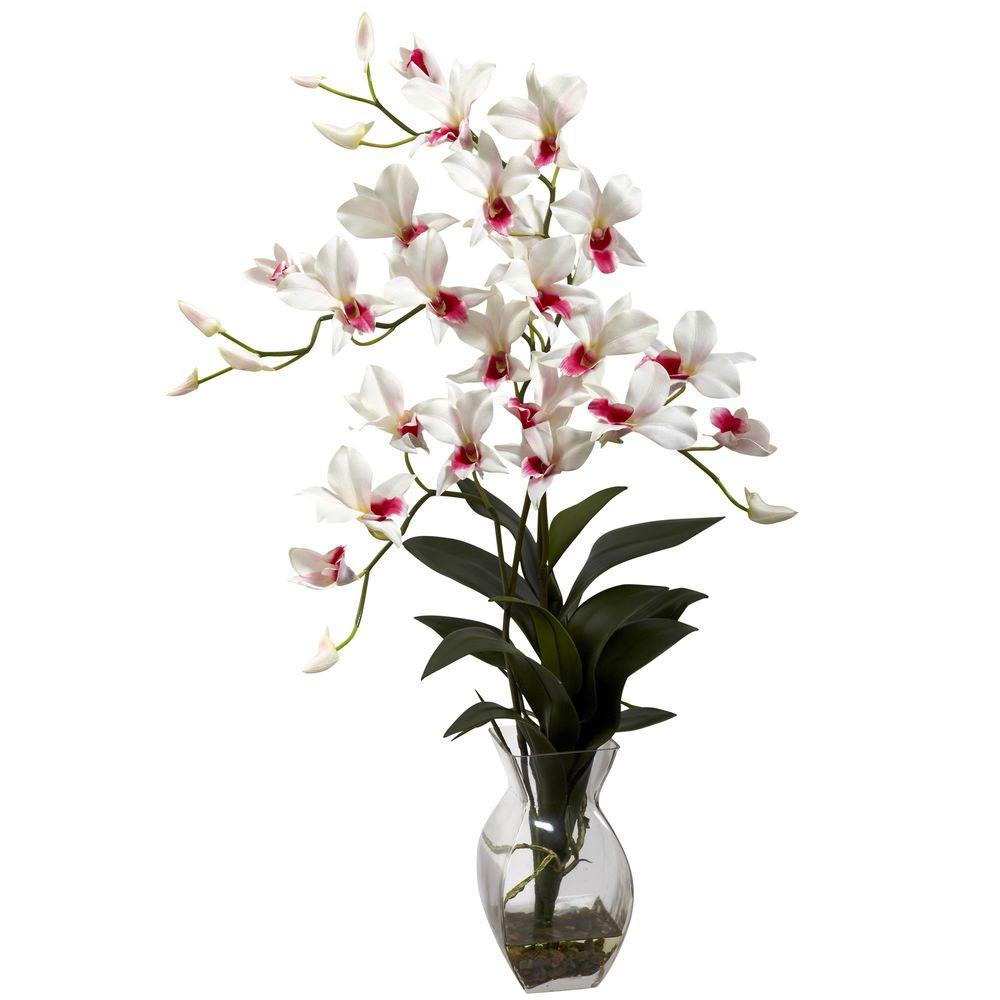Nearly Natural Cymbidium Orchid with Vase Arrangement in White-1293-WH - The