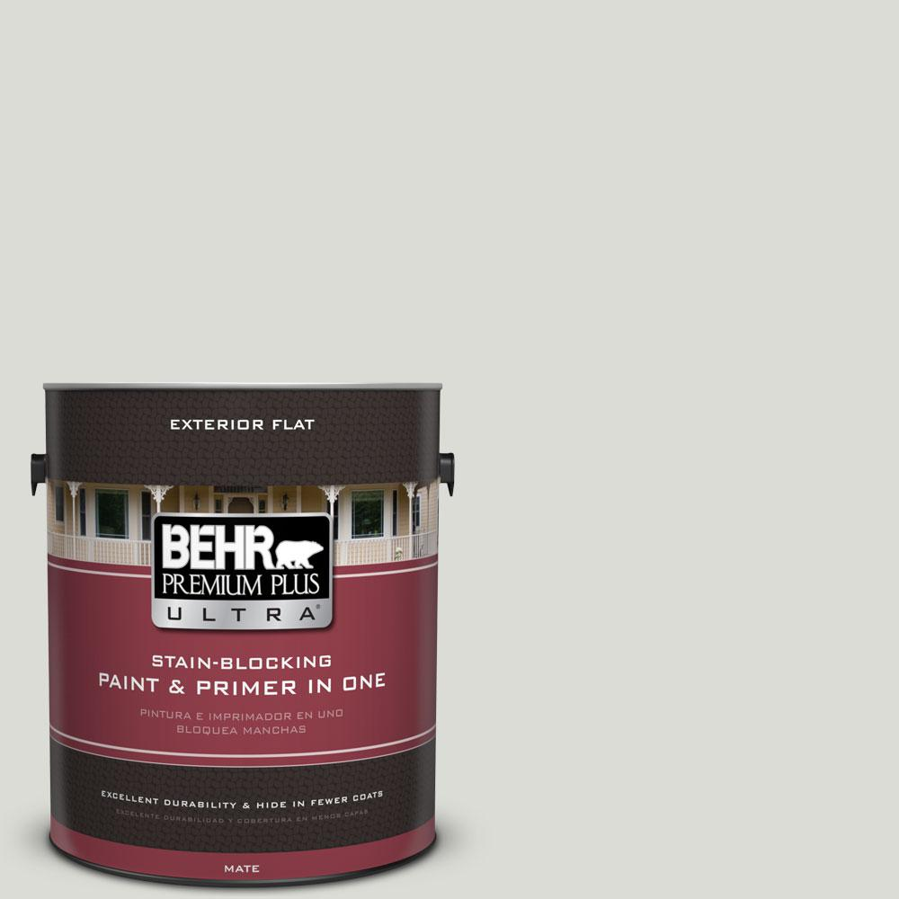 BEHR Premium Plus Ultra 1-gal. #BWC-29 Silver Feather Flat Exterior Paint
