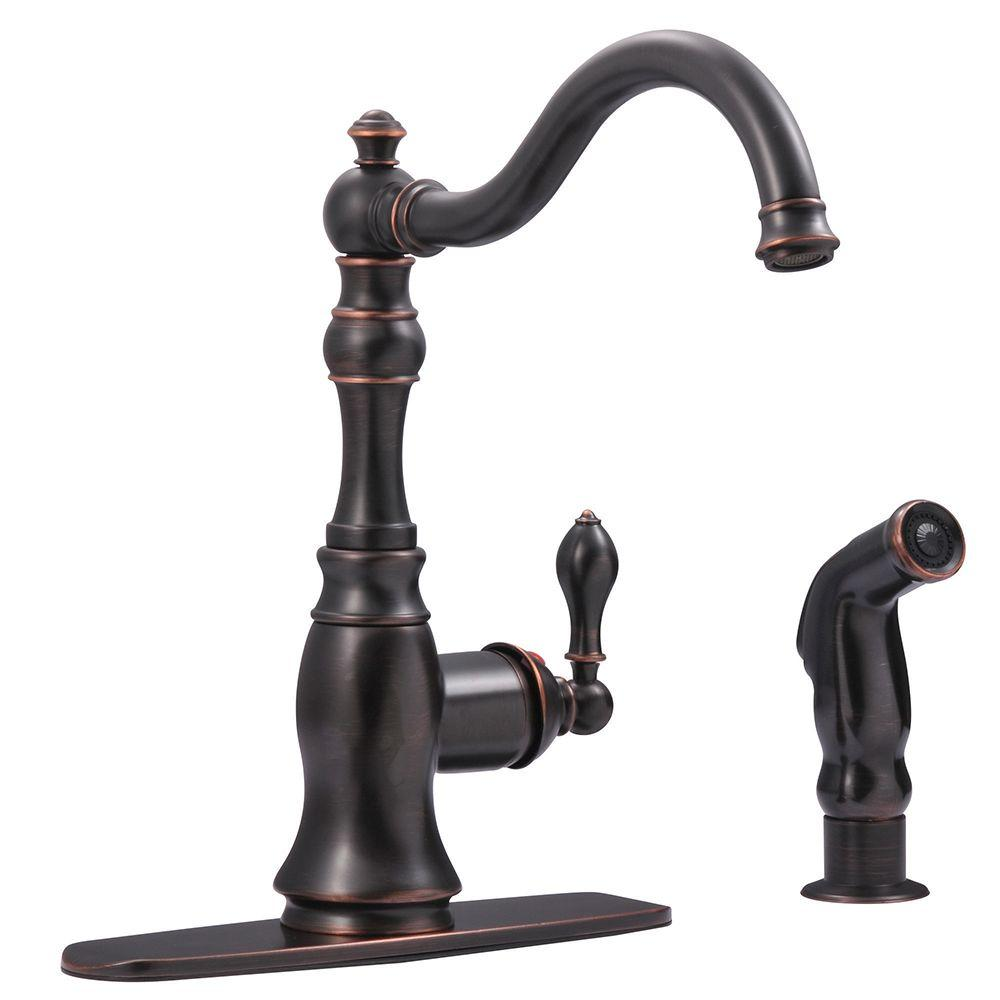Kingston Brass Victorian Single-Handle Standard Kitchen Faucet with Side Sprayer in Oil Rubbed Bronze