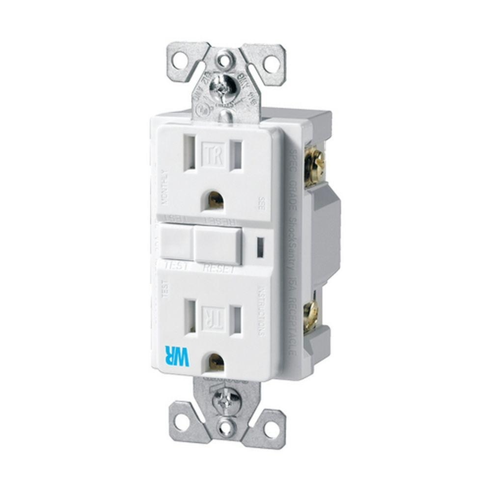 Eaton 15 Amp Decorator GFCI Tamper and Weather Resistant Duplex Electrical Outlet - White