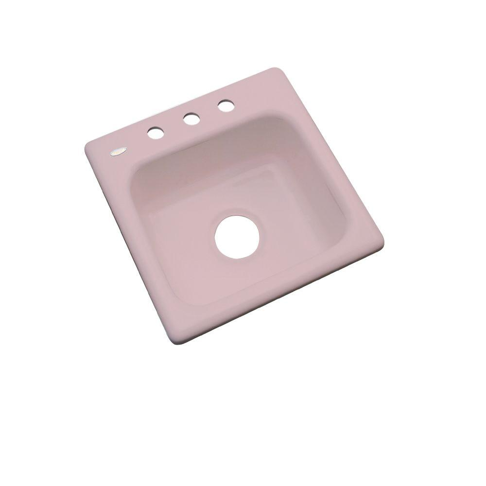 Thermocast Manchester Drop-In Acrylic 16 in. 3-Hole Single Basin Bar Sink in Wild Rose