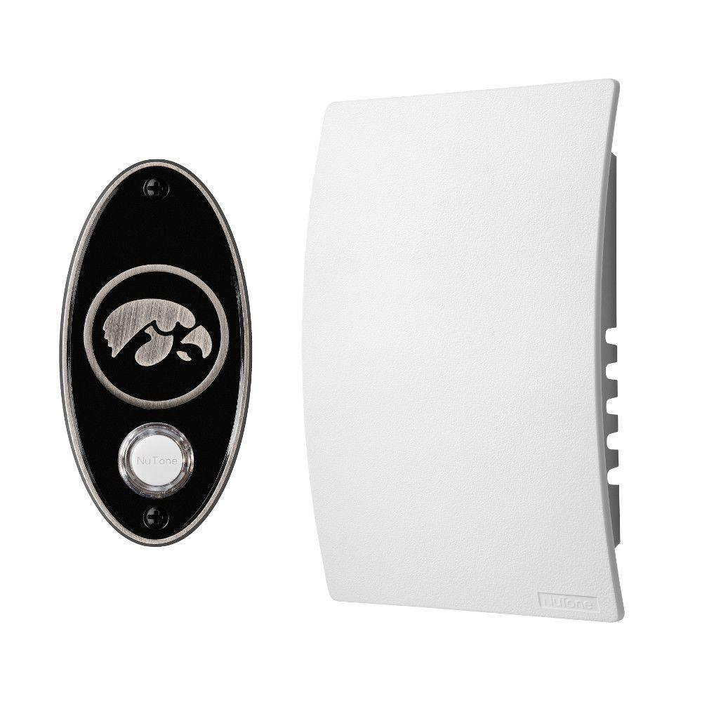 NuTone College Pride University of Lowa Wired/Wireless Door Chime Mechanism and Pushbutton Kit - Satin Nickel