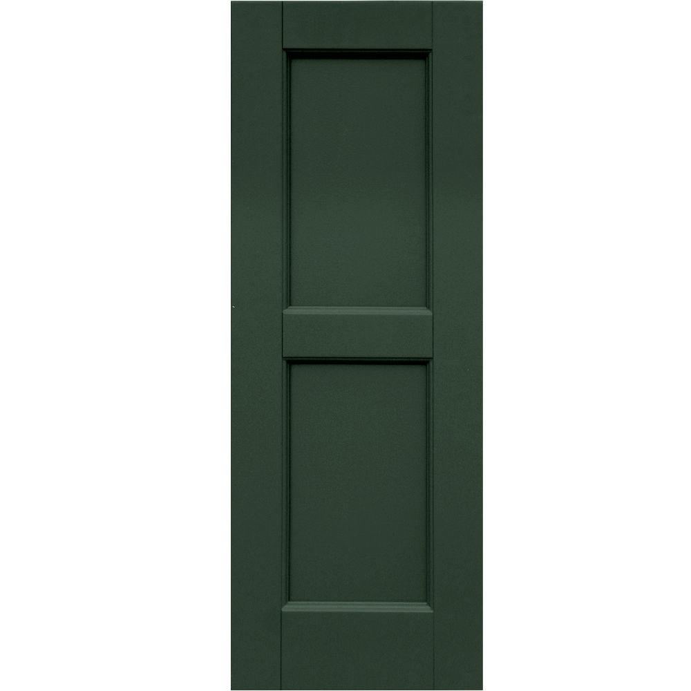 Winworks Wood Composite 12 in. x 33 in. Contemporary Flat Panel Shutters Pair #656 Rookwood Dark Green