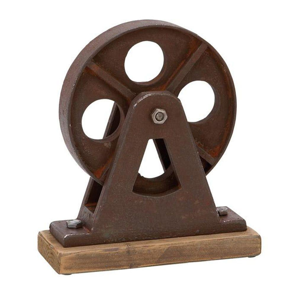 Home Decorators Collection 11 in. H Turner Wheel Table Decorative Sculpture in Brown