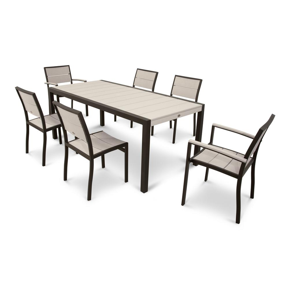 Trex Outdoor Furniture Surf City Textured Bronze 7-Piece Patio Dining Set with Sand Castle Slats