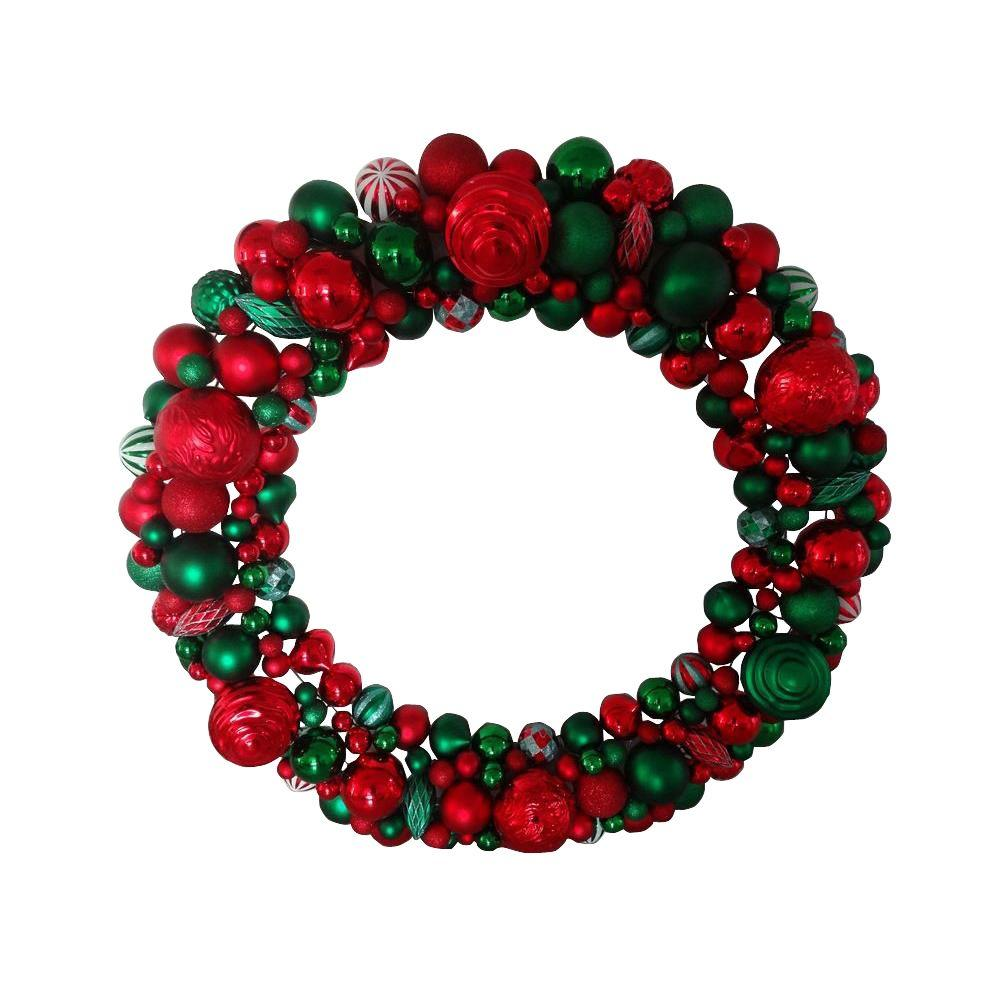 Christmas wreath ornaments - Artificial Wreath With Multi Color Shatterproof Ornament