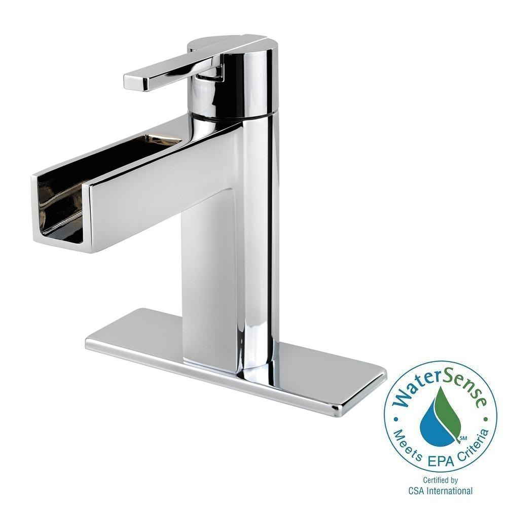 Pfister Vega 4 in. Centerset 1-Handle Waterfall Bathroom Faucet in Polished