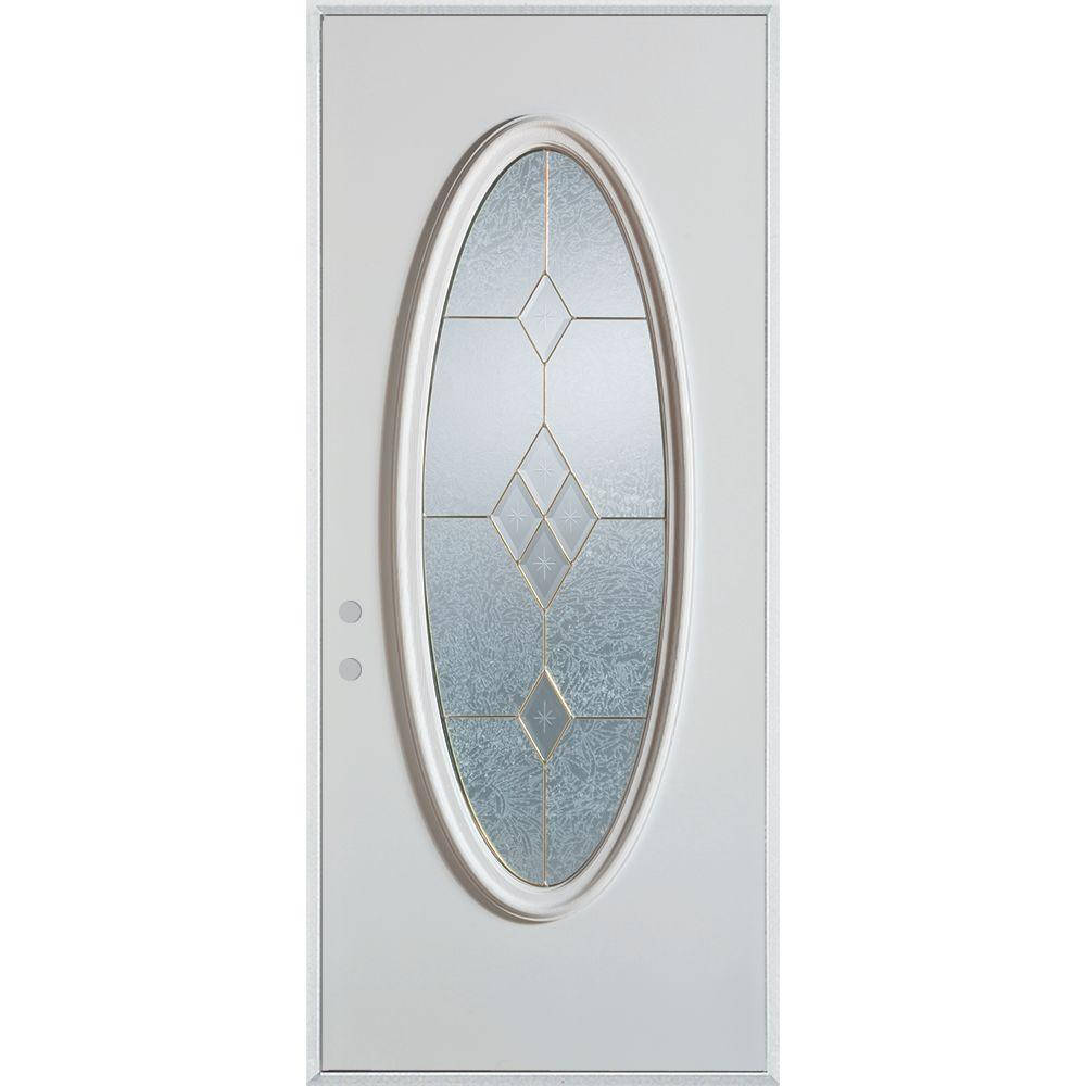 Stanley Doors 32 in. x 80 in. Geometric Brass Full Oval Lite Prefinished White Right-Hand Inswing Steel Prehung Front Door