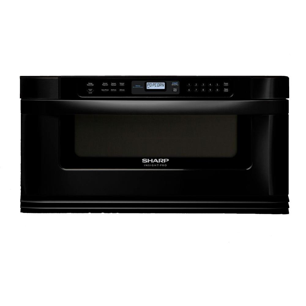 Sharp Refurbished Insight 1.0 cu. ft. 1000W Microwave Drawer Oven in Black-DISCONTINUED