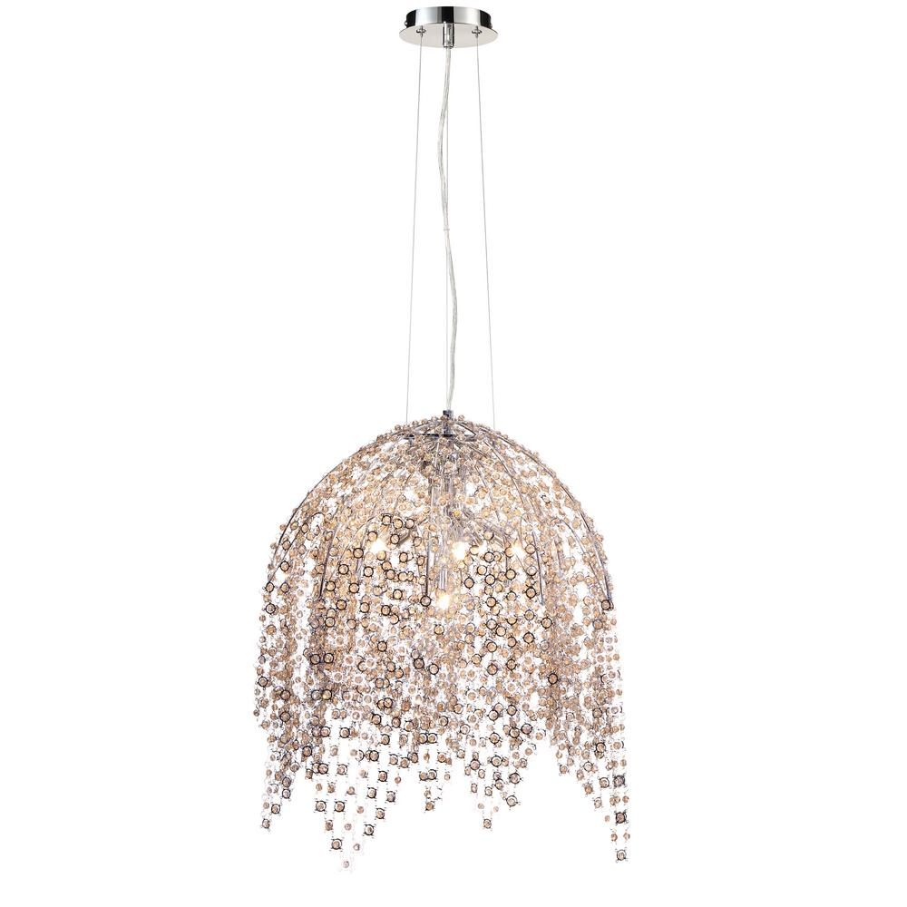 Danza Collection 6-Light Chrome Chandelier with Crystal Shade