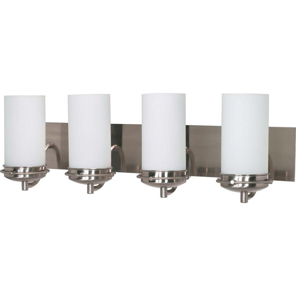 Vanity Light Shade Glass : Glomar 4-Light Brushed Nickel Vanity Light with Satin Frosted Glass Shade-HD-614 - The Home Depot