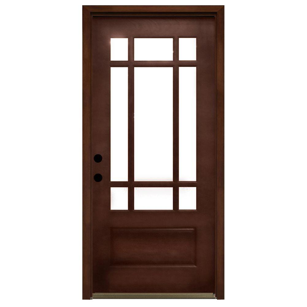 Steves & Sons Craftsman 9 Lite Stained Mahogany Wood Prehung Front