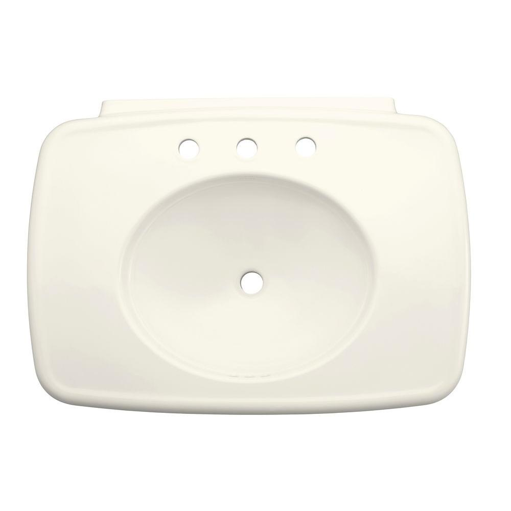 Bancroft 5 in. Ceramic Pedestal Sink Basin in Biscuit with Overflow