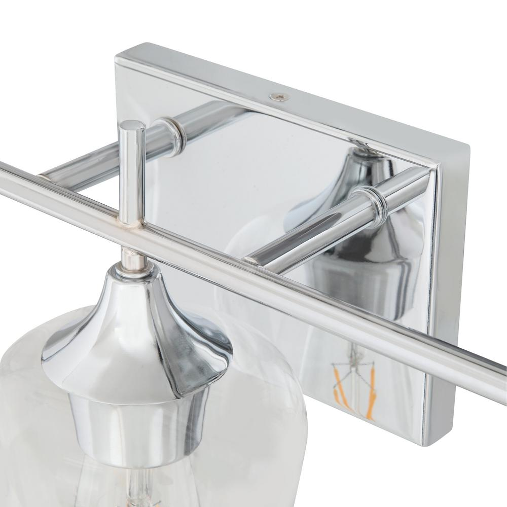 Vanity light featuring a polished chrome finish