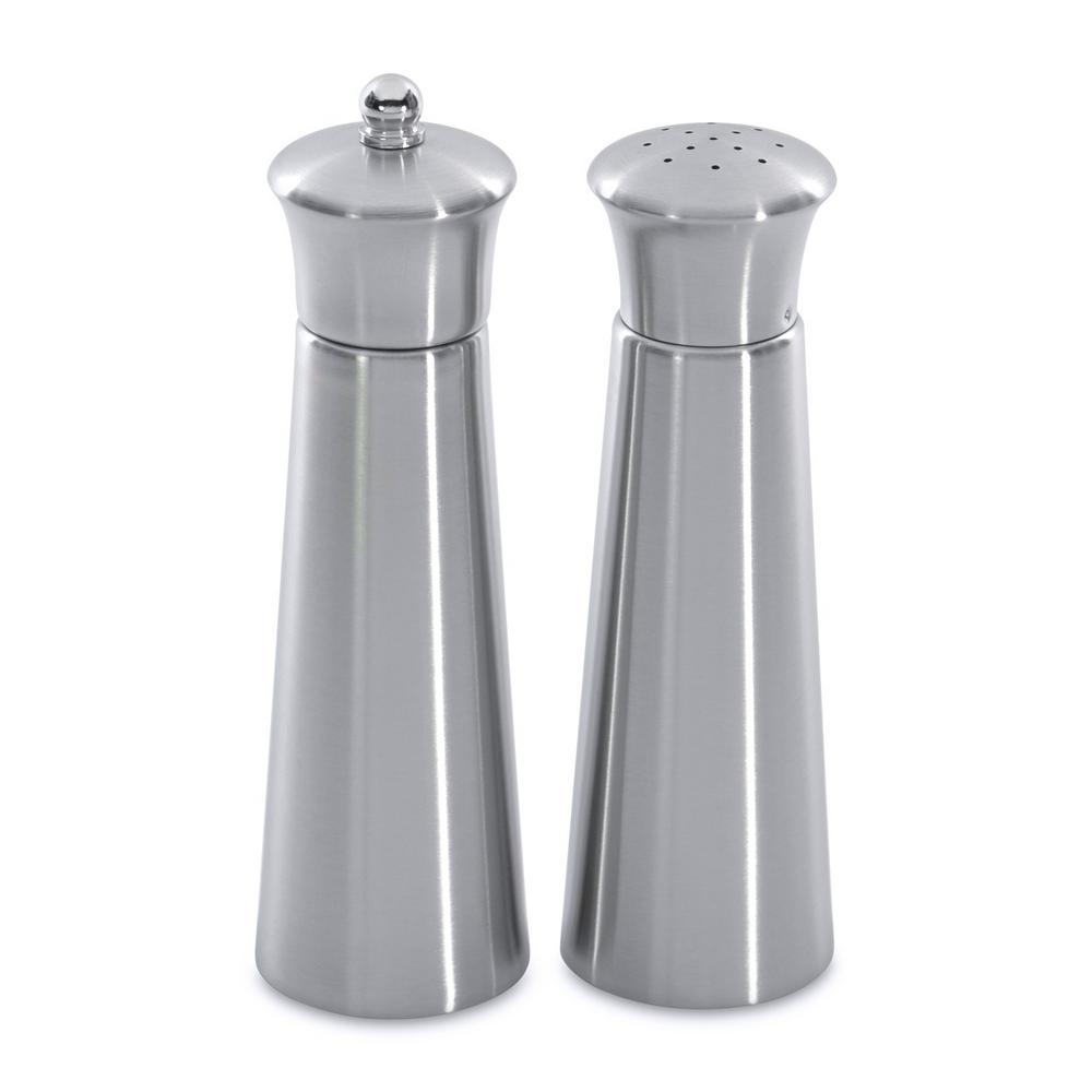 Straight Line Pyramid Stainless Steel 2-Piece Salt and Pepper Mill Set