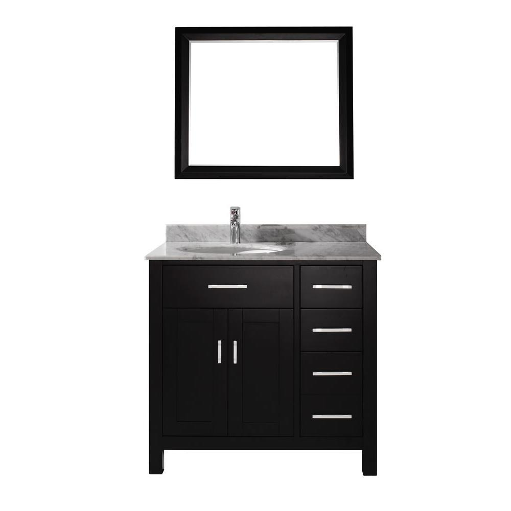 Kalize 36 in. Vanity in Espresso with Marble Vanity Top in