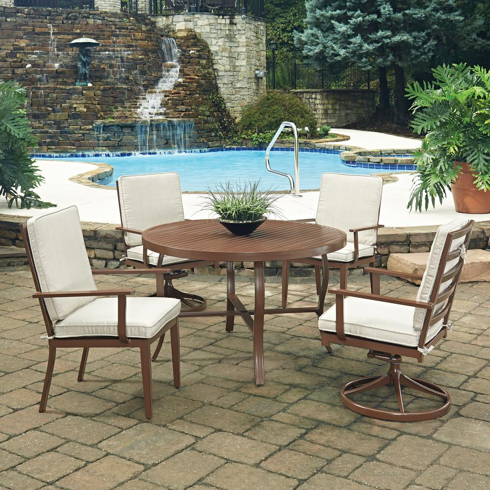 Key West Chocolate Brown5-Piece Extruded Aluminum Outdoor Dining Set with Beige