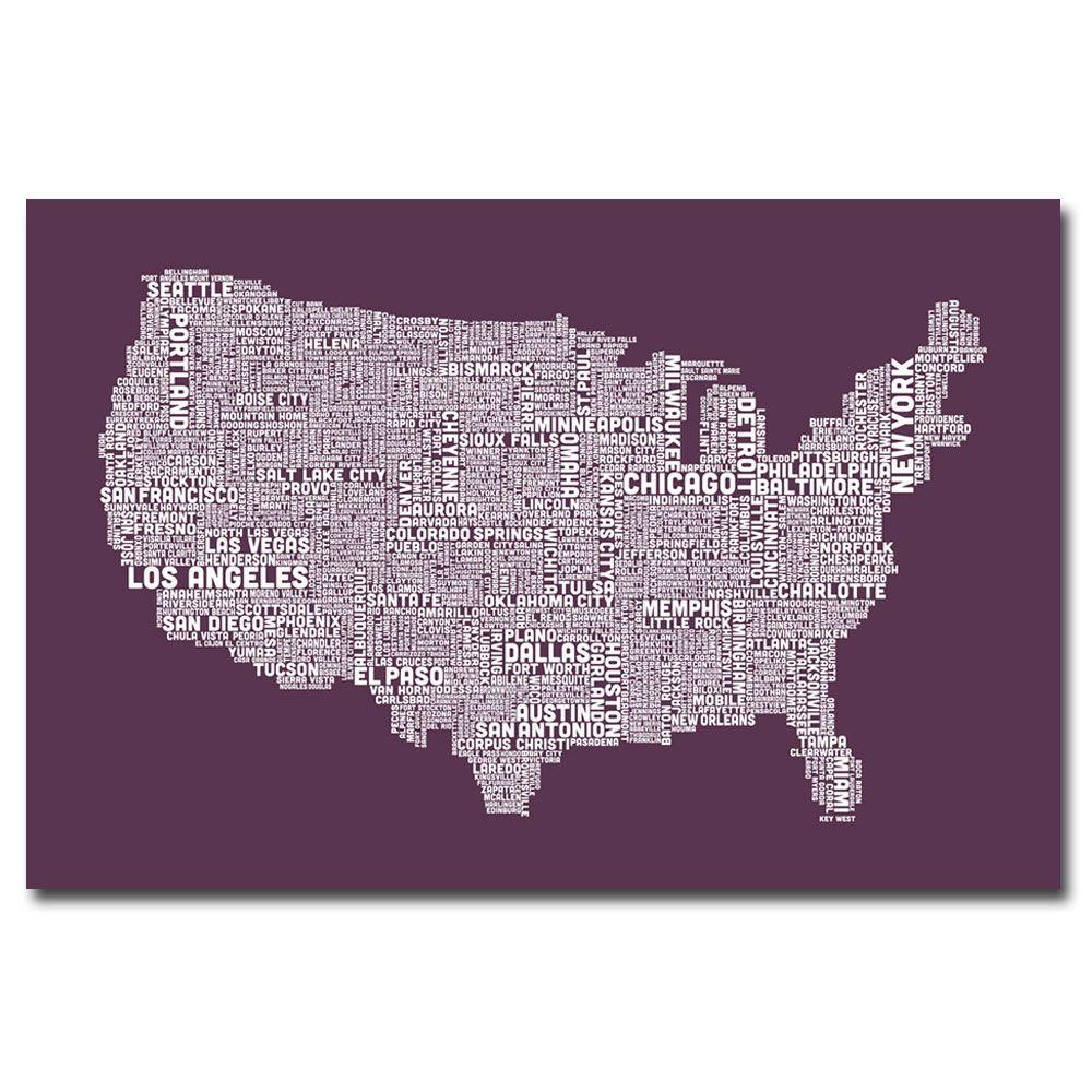 22 in. x 32 in. US City Map IV Canvas Art
