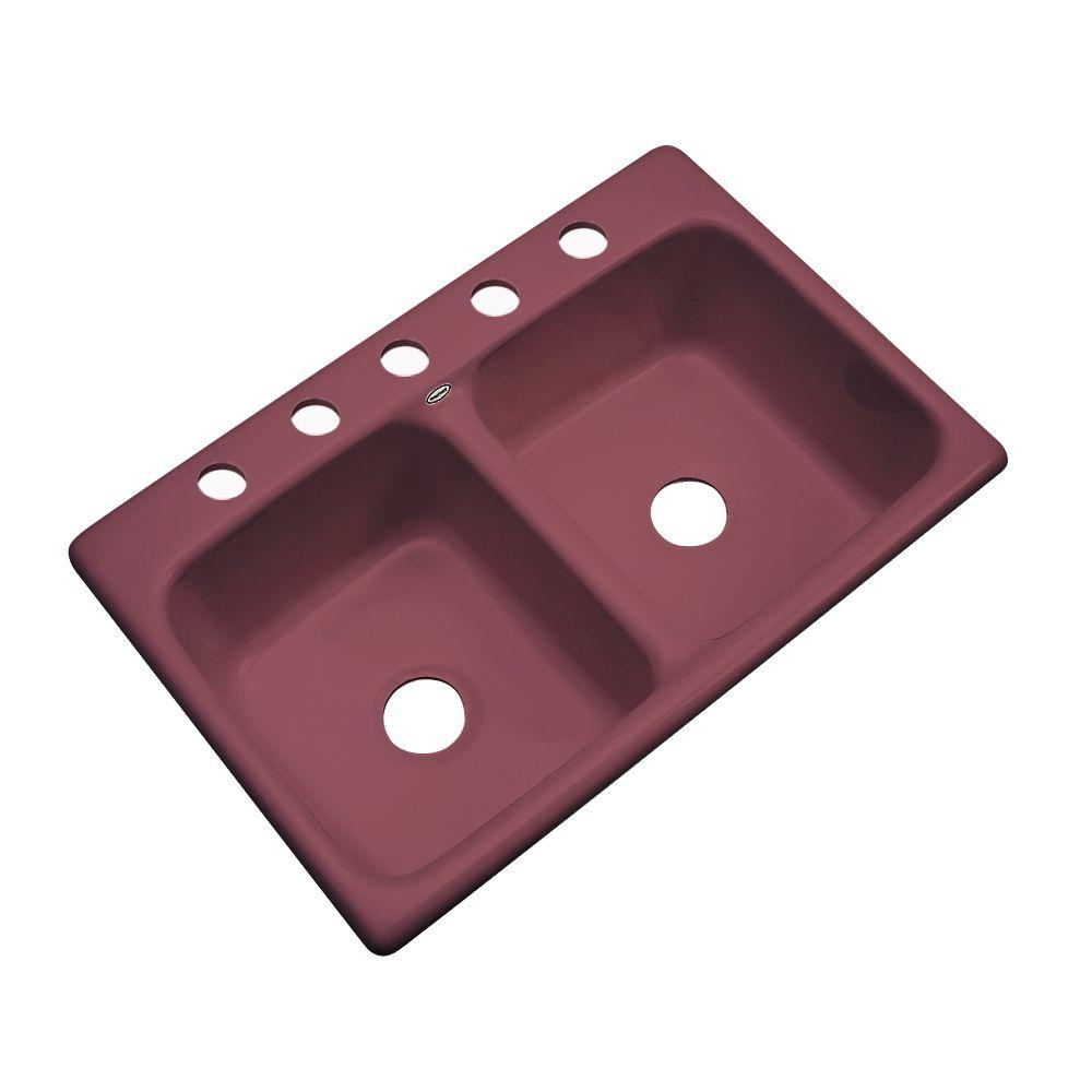 Newport Drop-in Acrylic 33x22x9 in. 5-Hole Double Bowl Kitchen Sink in Raspberry Puree