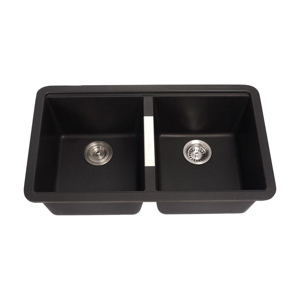 granite kitchen sinks KRAUS Undermount Granite Composite 33 in 50 50 Double Basin Kitchen Sink Kit in Black Onyx KGU B The Home Depot