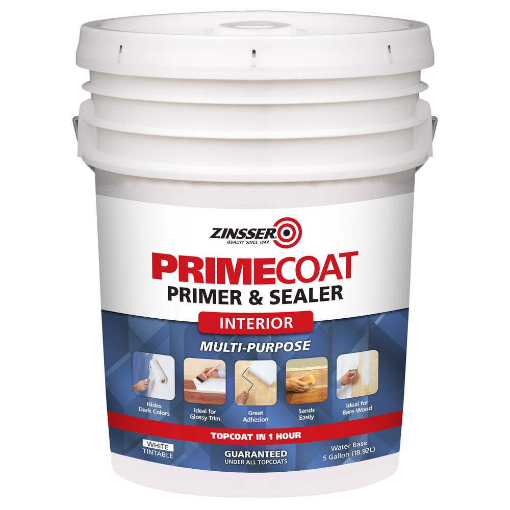 Zinsser 5 gal primecoat water based white interior primer and sealer 324259 the home depot - Exterior sealant paint decor ...