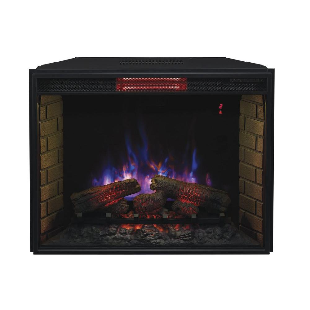 33 in. Infrared Quartz Fireplace Insert with Flush-Mount Trim Kit-86030-BB -