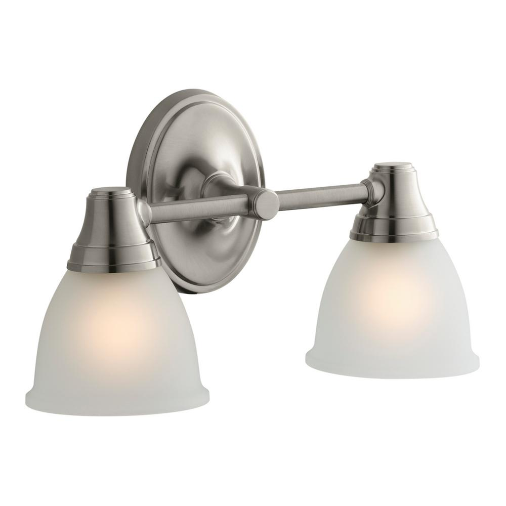 kohler bathroom lights kohler forte transitional 2 light vibrant brushed nickel 13380