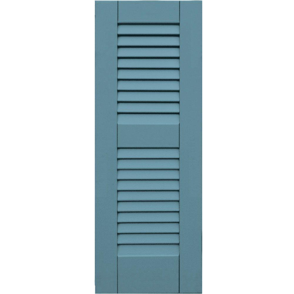 Louvered: Winworks Shutters & Hardware Wood Composite 12 in. x 33 in. Louvered Shutters Pair #645 Harbor 41233645