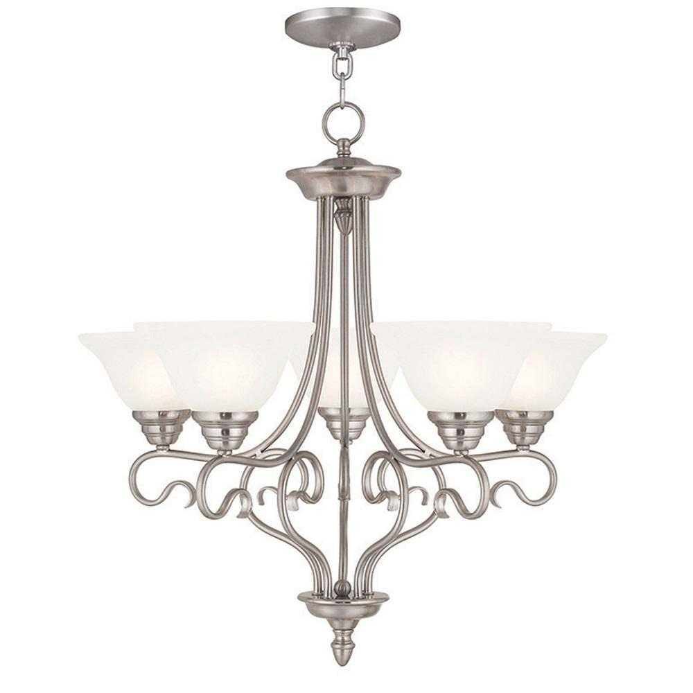 Coronado 5-Light Brushed Nickel Chandelier with White Alabaster Glass Shade